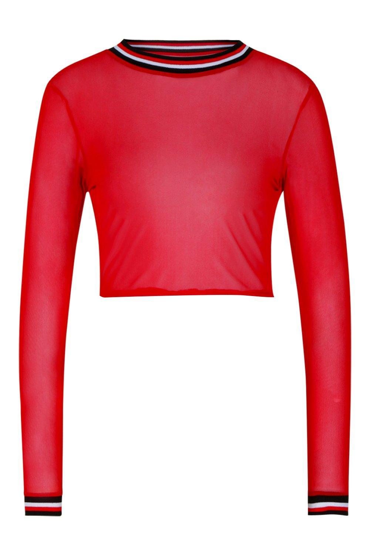 en de con rojo manga malla larga de contraste costuras corto Top Sxw5q6gR8