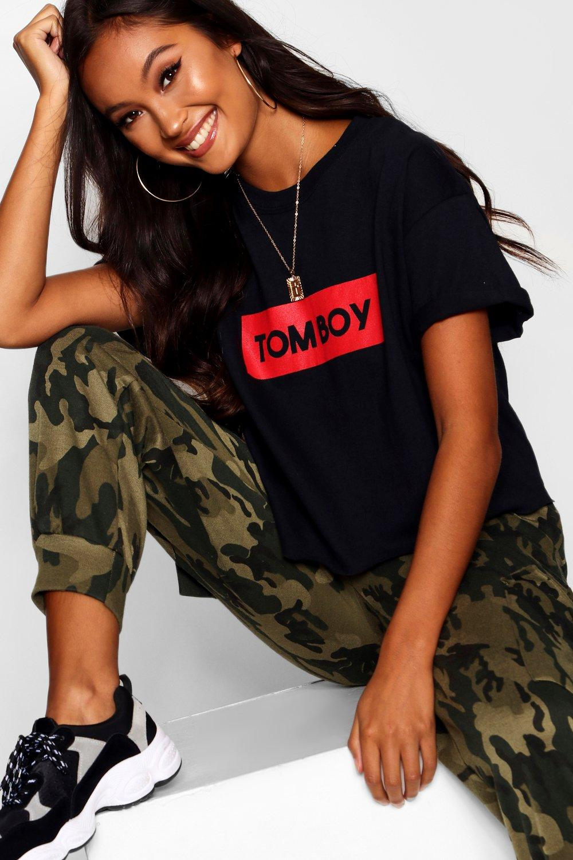 """con Top corto """"Tomboy eslogan """"Tomboy con Top eslogan corto """"Tomboy Top eslogan corto con rqra0"""