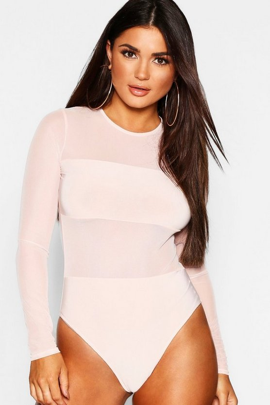 Womens Nude Square Neck Mesh Panel Bodysuit