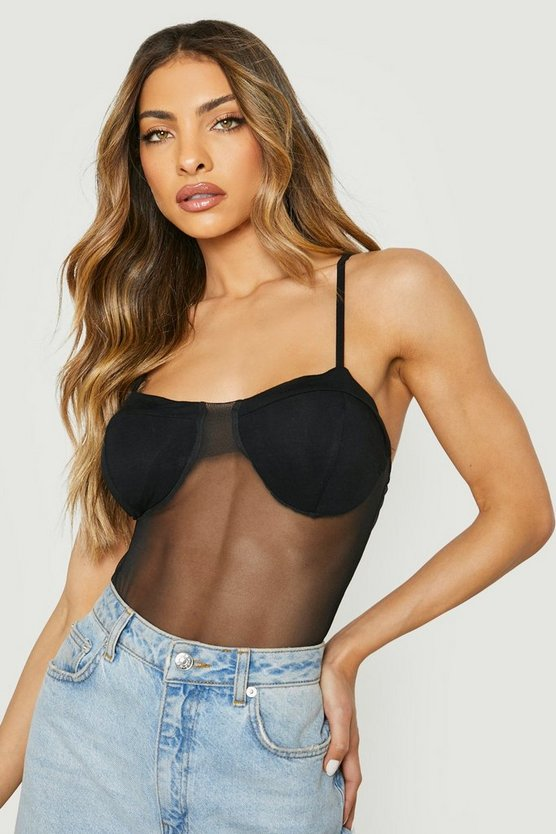 Womens Black Mesh Cupped Bodysuit