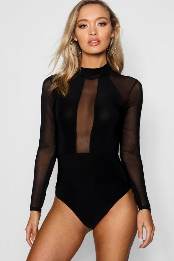 Mesh Panelled High Neck Bodysuit