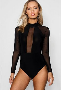 Womens Black Mesh Panelled High Neck Bodysuit