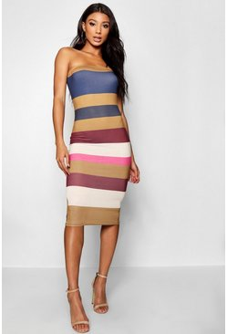 Womens Mustard Tonal Stripe Bandeau Bodycon Midi Dress
