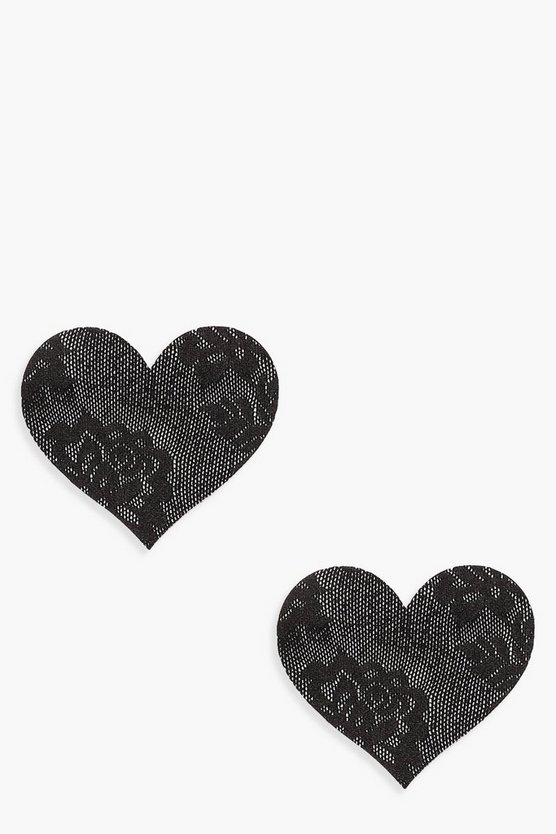 Womens Black Lace Heart Nipple Cover