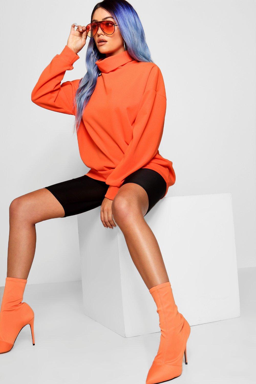 alzado largo Suéter con cuello naranja xPwAfYw