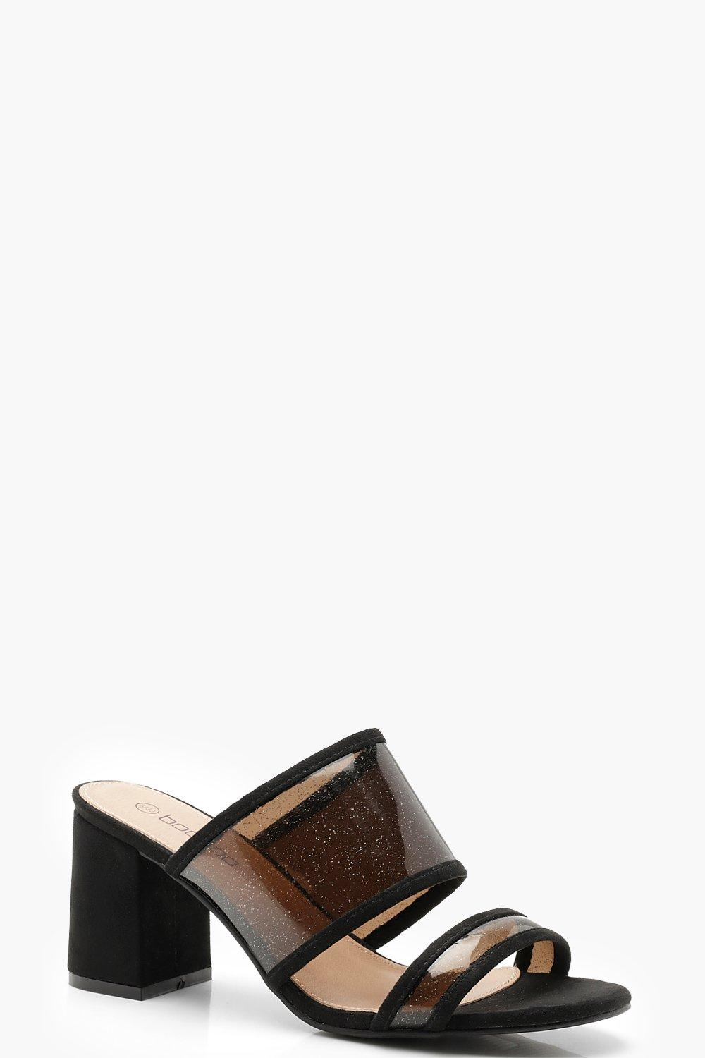 Clear Panel Peeptoe Block Heel Mules
