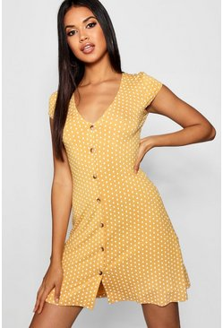 Mustard Cap Sleeve Button Through Shift Dress