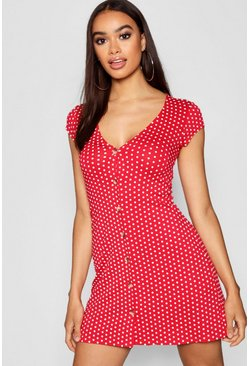 Red Cap Sleeve Button Through Shift Dress