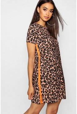 Womens Orange Leopard Print Contrast Panel Shift Dress