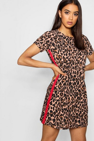 Red Leopard Print Contrast Panel Shift Dress