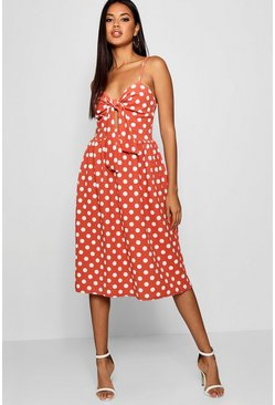 Womens Rust Knot Front Polka Dot Midi Dress