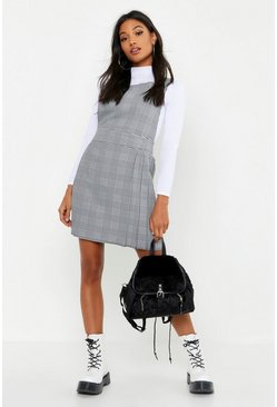 Womens Black Pleat Front Dogtooth Check Pinafore Dress