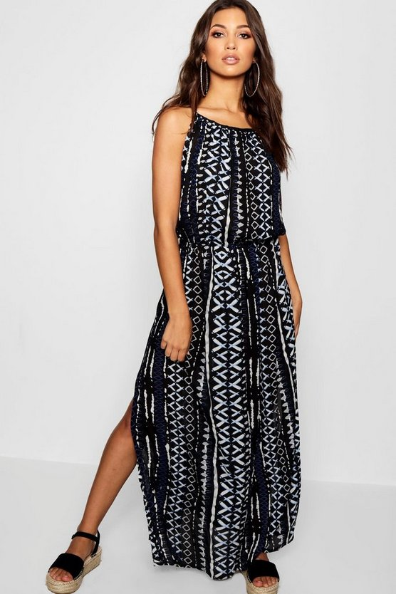 Printed Side Split Maxi Dress