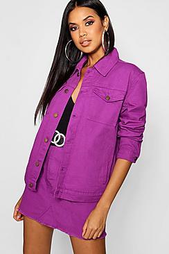 Purple Oversized Denim Jacket