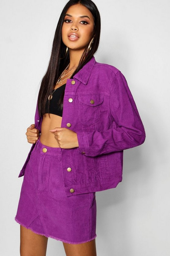 Cord Purple Denim Jacket Cord Purple Denim Jacket by Boohoo