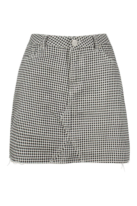 en denim de Minifalda vichy negro cuadros 64qzz