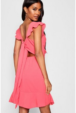 Womens Coral Ruffle Detail Tie Back Skater Dress