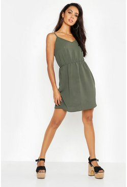Khaki Strappy Back Dress