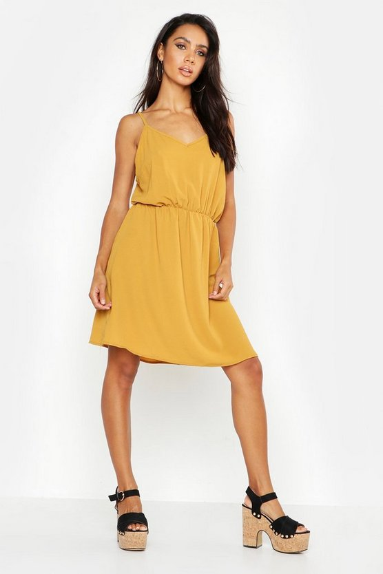 Womens Mustard Strappy Back Dress