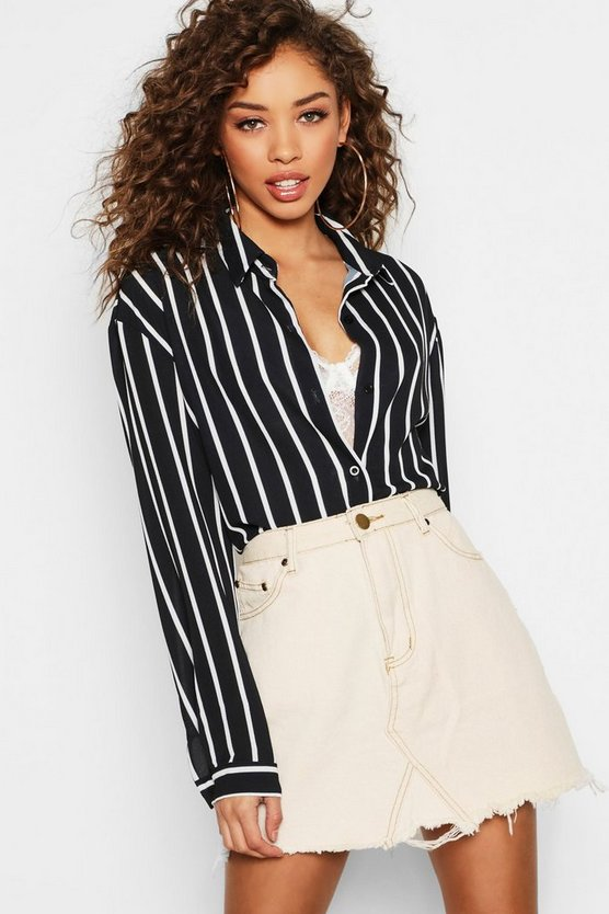 Black Oversized Button Through Stripe Shirt