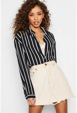 Womens Black Oversized Button Through Stripe Shirt