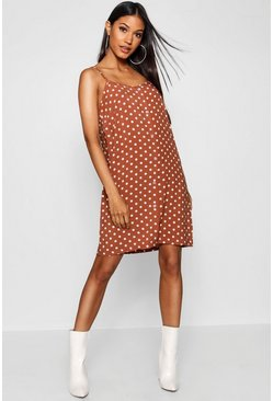 Dam Brown Polka Dot Button Through Cami Mini Dress