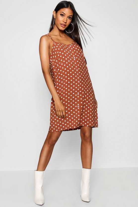 Womens Brown Polka Dot Button Through Cami Mini Dress