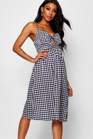 Womens Black Gingham Tie Front Cotton Mix Midi Dress