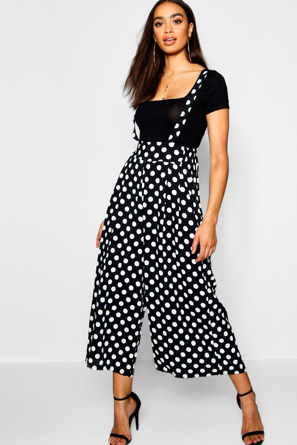 Polka Dot High Waist Trousers With Braces
