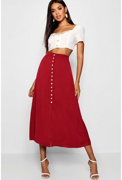 Berry Small Button Detail Midi Skirt