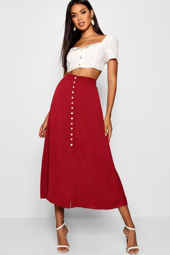 Womens Berry Small Button Detail Midi Skirt