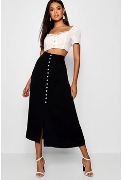 Womens Black Small Button Detail Midi Skirt