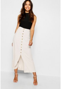 Beige Mock Horn Button Through Midi Skirt
