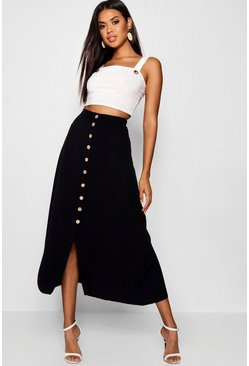 Womens Black Mock Horn Button Through Midi Skirt