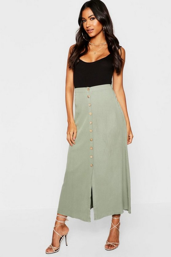 Womens Khaki Mock Horn Button Through Midi Skirt