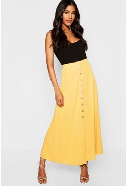 Womens Mustard Mock Horn Button Through Midi Skirt