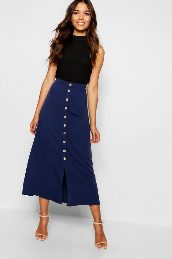 Womens Navy Mock Horn Button Through Midi Skirt