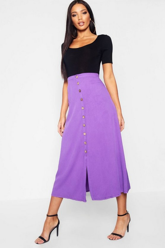 Womens Purple Mock Horn Button Through Midi Skirt
