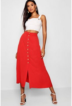Red Mock Horn Button Through Midi Skirt