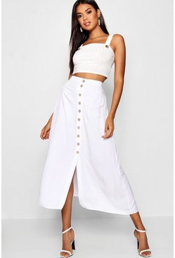 Womens White Mock Horn Button Through Midi Skirt