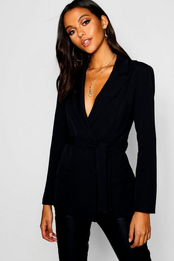 Woven Fitted Double Breasted Tie Belt Blazer