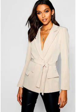 Womens Stone Woven Fitted Double Breasted Tie Belt Blazer