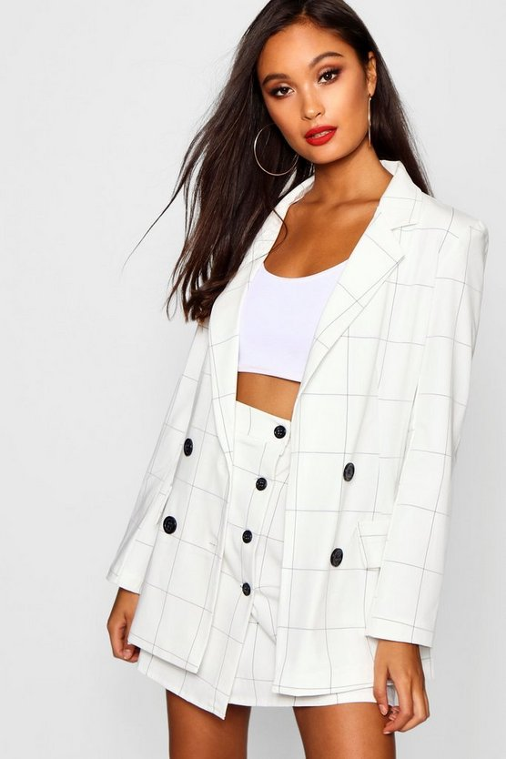 Woven Double Breasted Window Pane Check Blazer