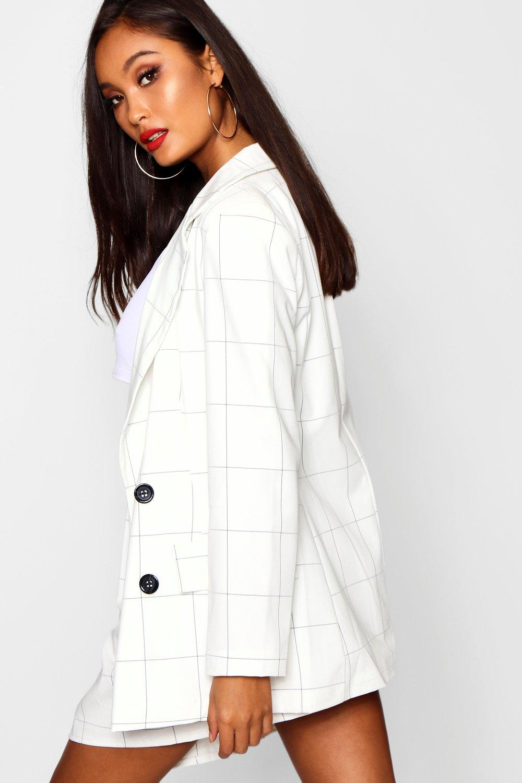 estilo Blazer leñador tejido de blanco a cuadros doble botonadura nYzYw6qr