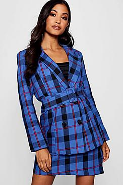 Women's 70s Shirts, Blouses, Hippie Tops Woven Check Double Breasted Belted Longline Blazer $72.00 AT vintagedancer.com