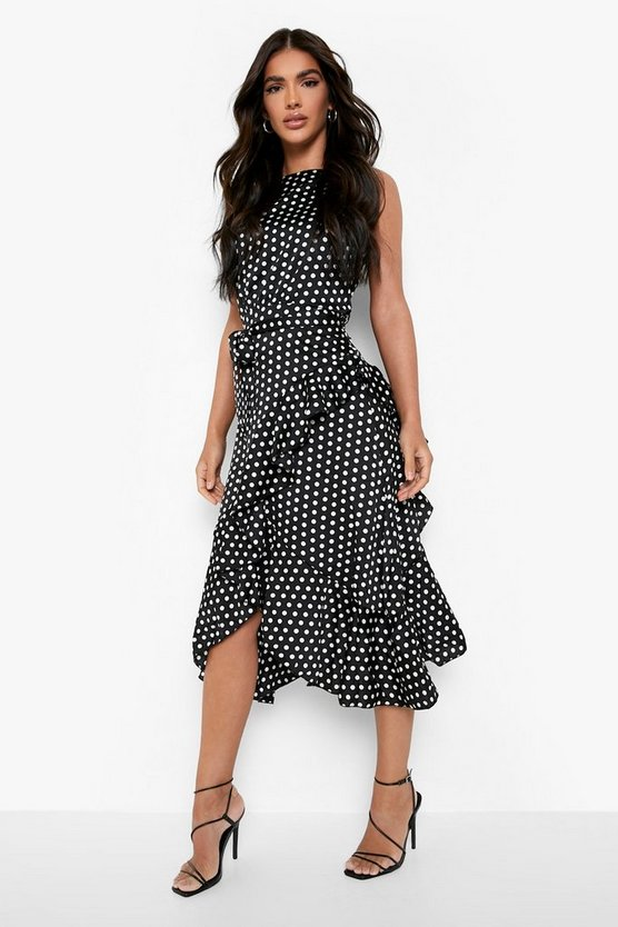 Womens Black Satin Polka Dot Frill Detail Midi Dress
