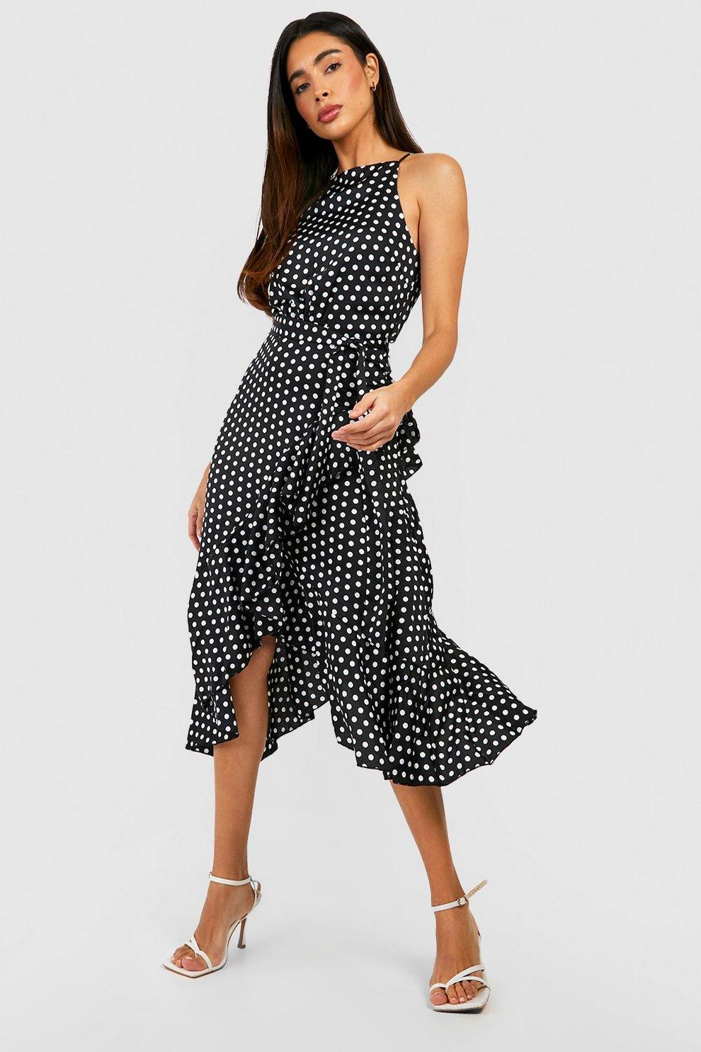 0ec2e9e14505 Satin Polka Dot Frill Detail Midi Dress | Boohoo