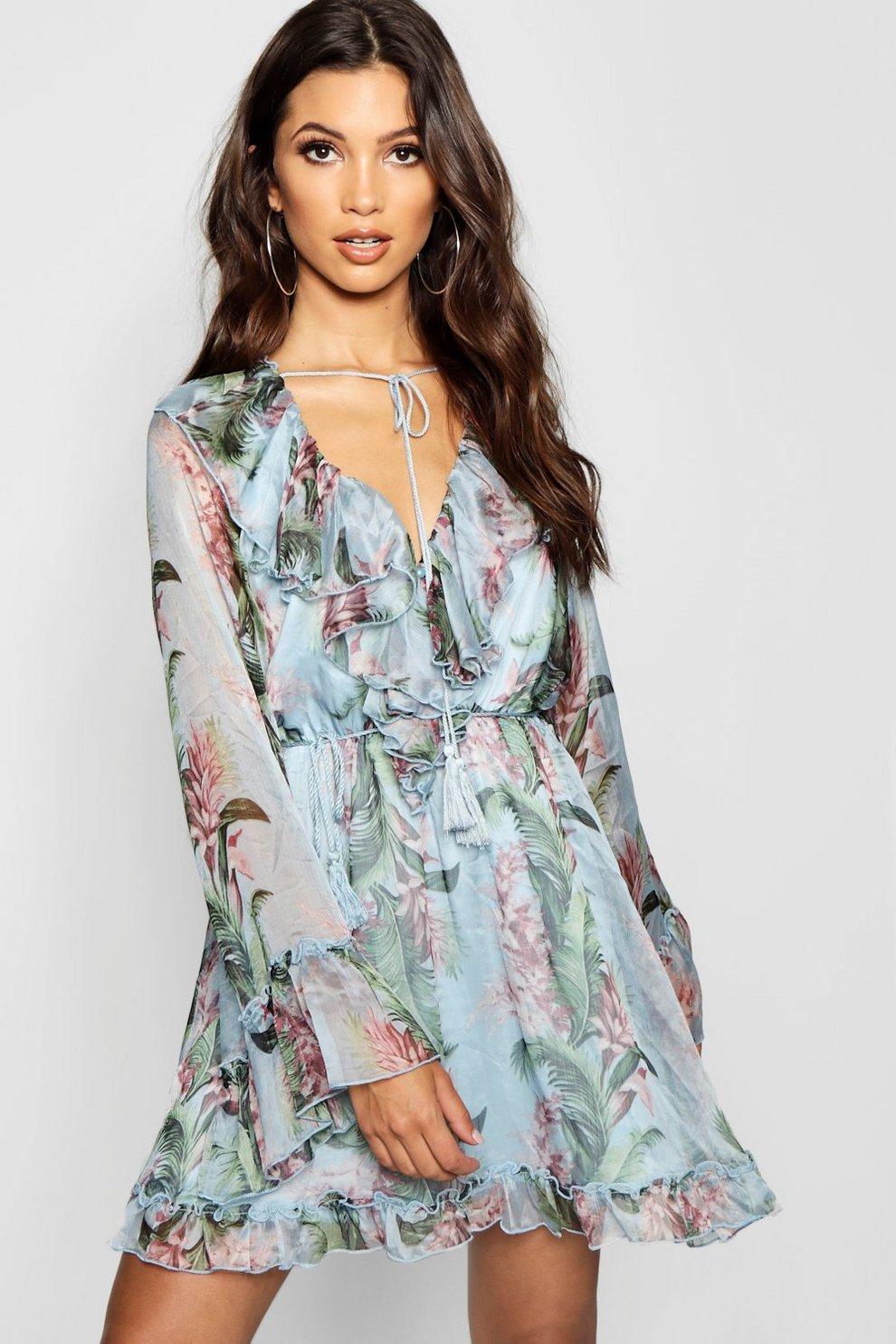 6be71e9cd9b1 Floral Print Flared Sleeve Frill Skater Dress | Boohoo