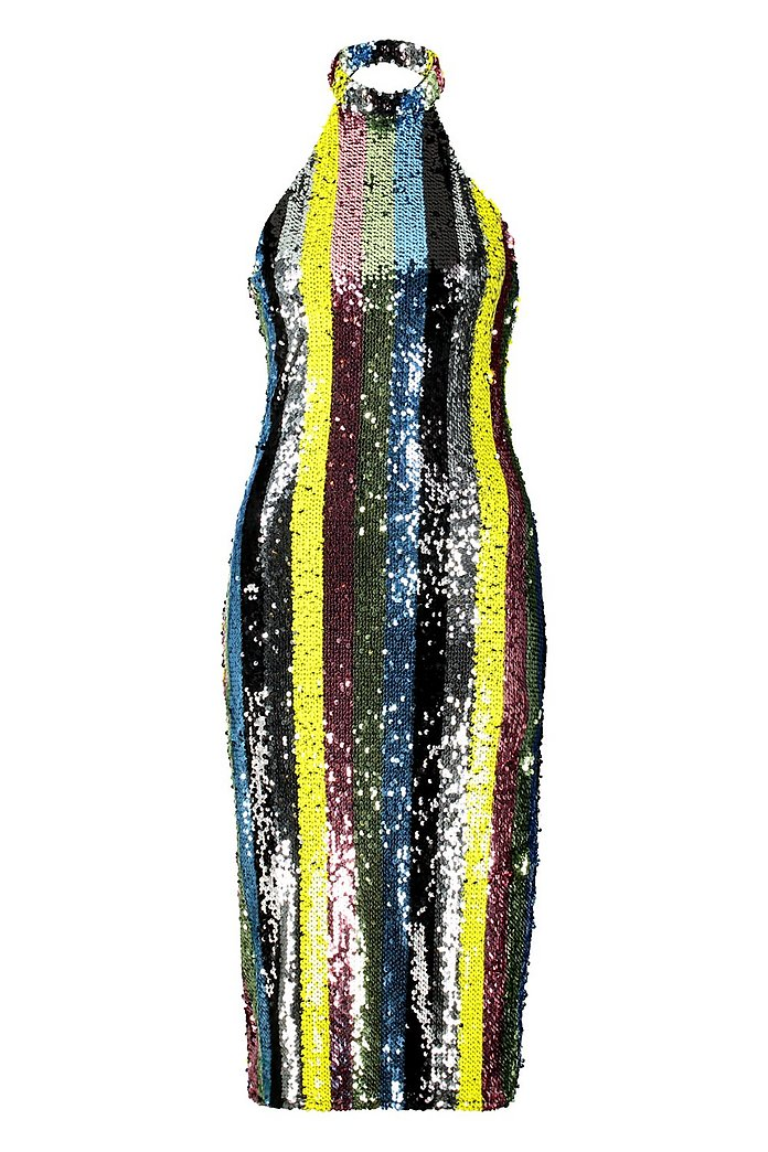 8c4d5ae5b363 Rainbow Sequin High Neck Midi Dress   Boohoo