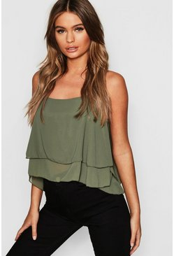 Womens Khaki Woven Double Layer Cami Top